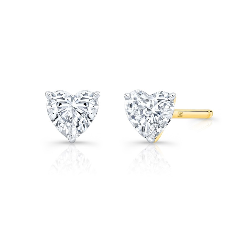 14k Yellow Gold Floating Heart Cut Diamond Stud
