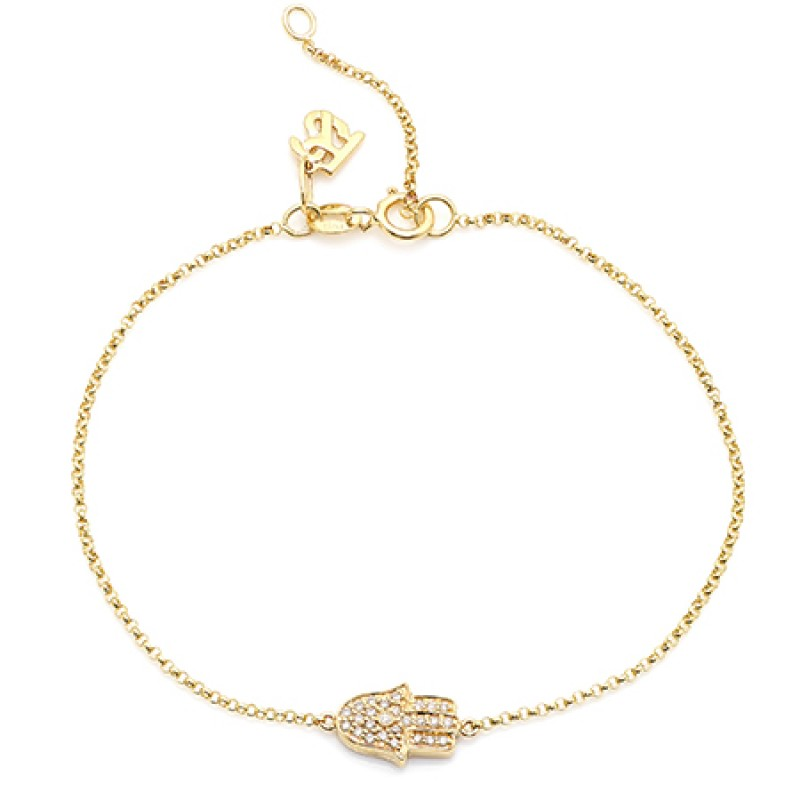 14k Yellow Gold Diamond Hamsa Hand of Fatima Bracelet