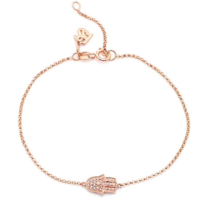 14k Rose Gold Diamond Hamsa Hand of Fatima Bracelet