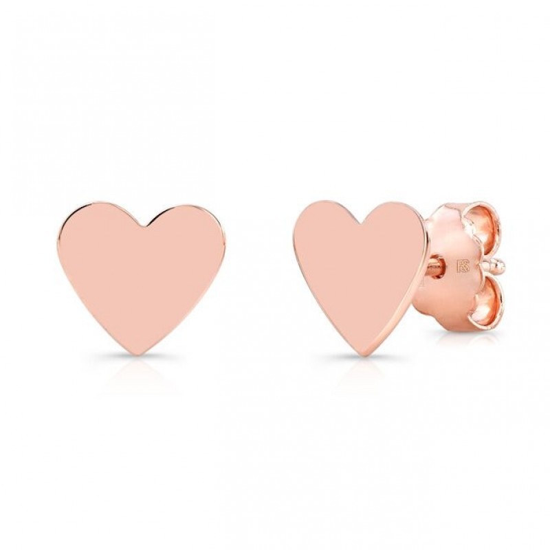 14k Rose Gold Heart Stud Earrings