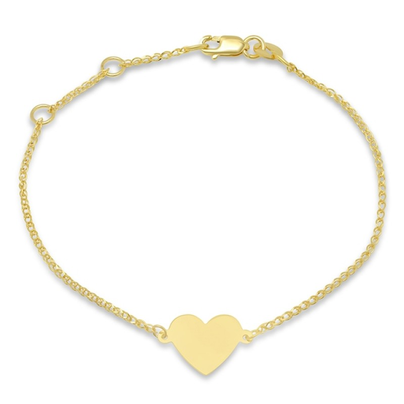 Kids 14k Yellow Gold Floating Heart Bracelet