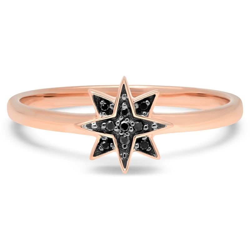 14k Rose Gold Black Diamond Mini Starburst Ring