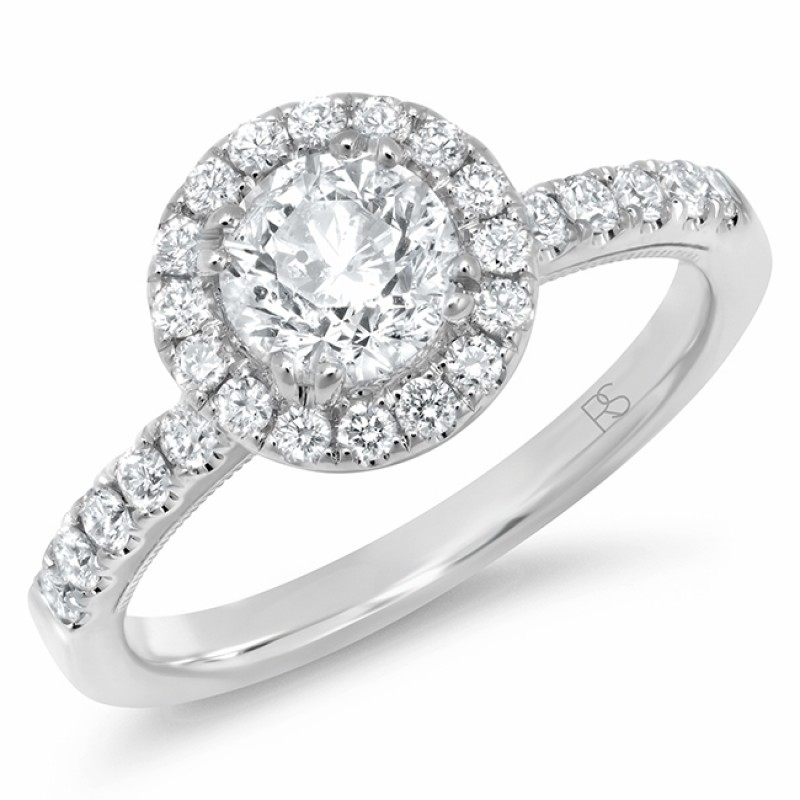 14k White Gold Diamond Halo Round Cut Engagement Ring