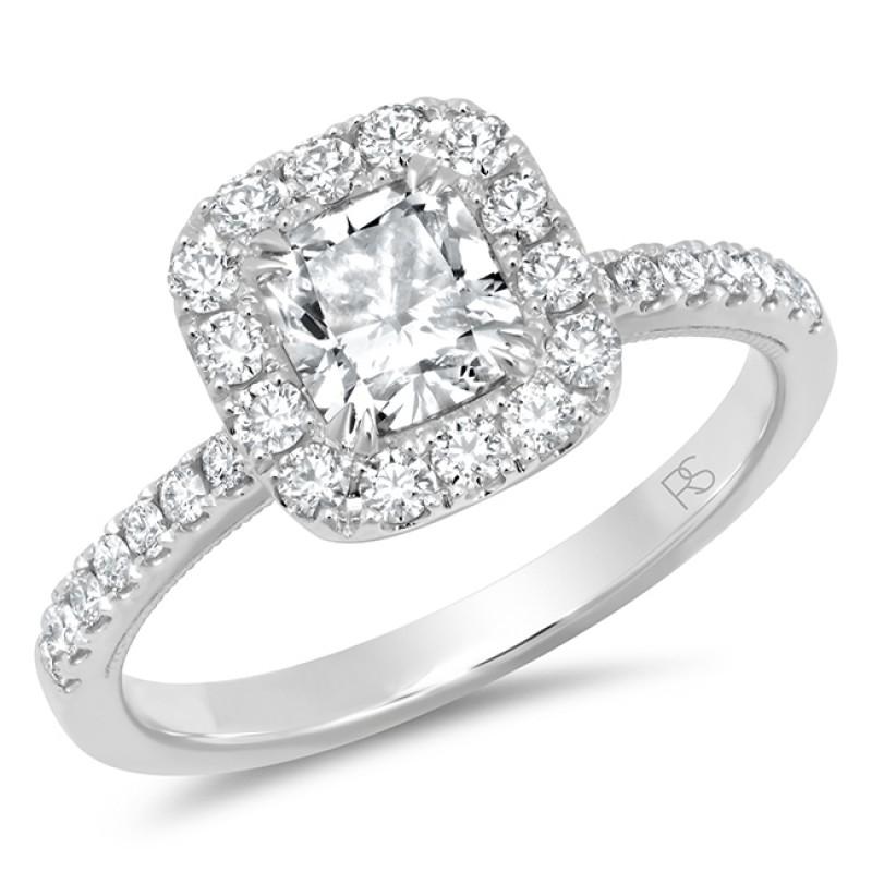 14k White Gold Diamond Halo Cushion Cut Engagement Ring