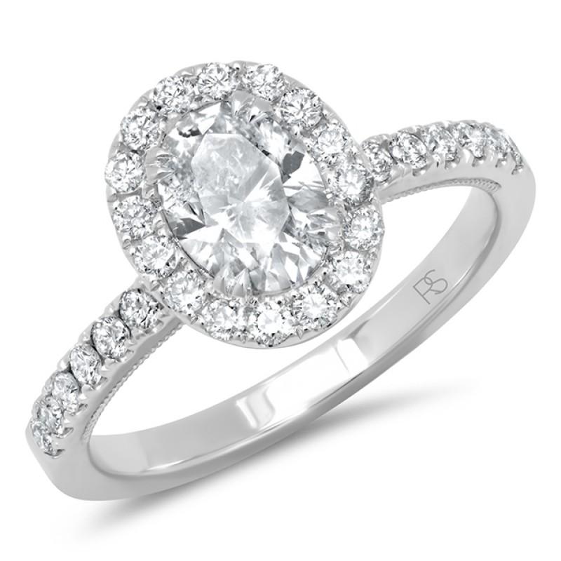 14k White Gold Diamond Halo Oval Cut Engagement Ring