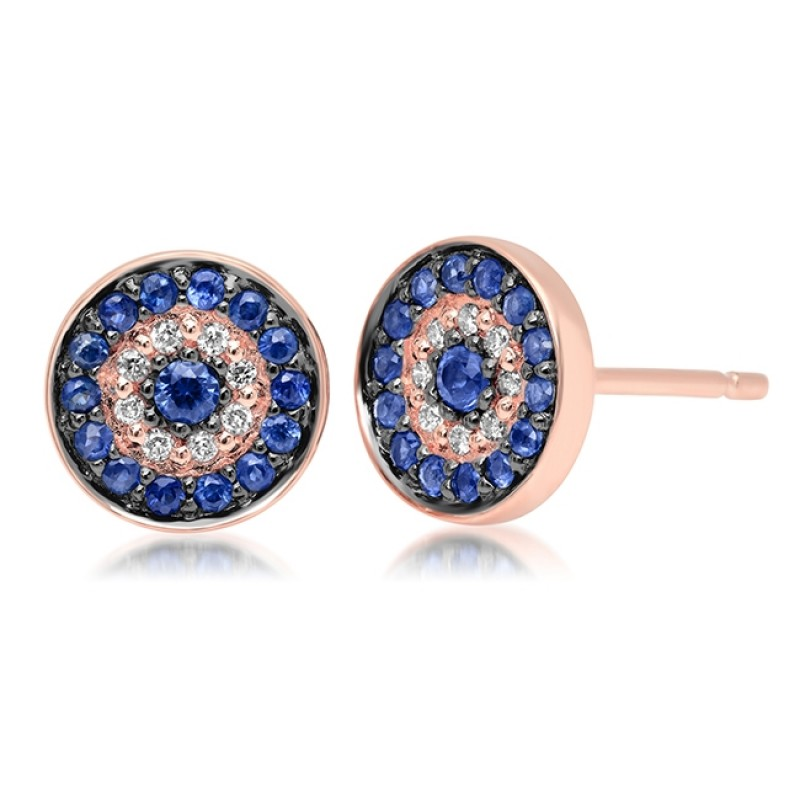 14k Rose Gold Diamond Sapphire Evil Eye Disc Stud Earrings