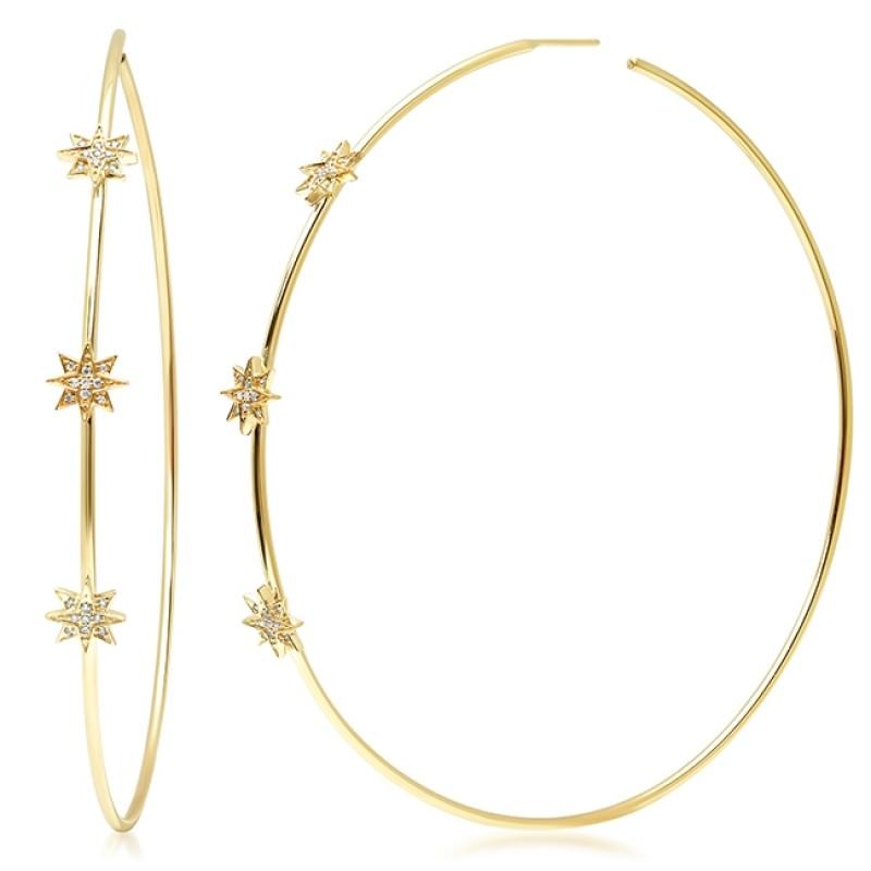 14K Yellow Gold Diamond Starburst Hoop Earrings