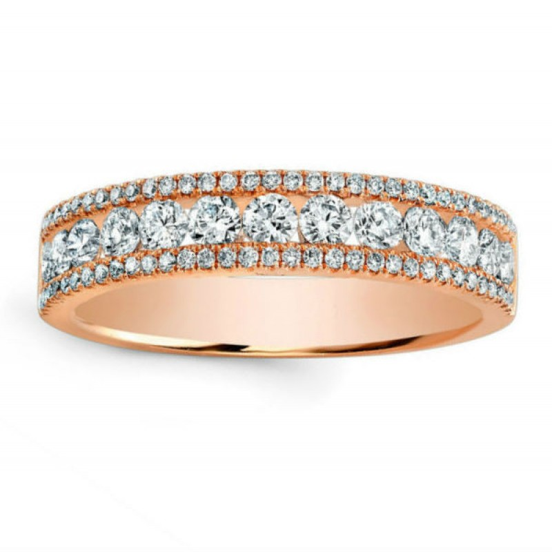 14k Rose Gold Diamond Pave and Channel Ring