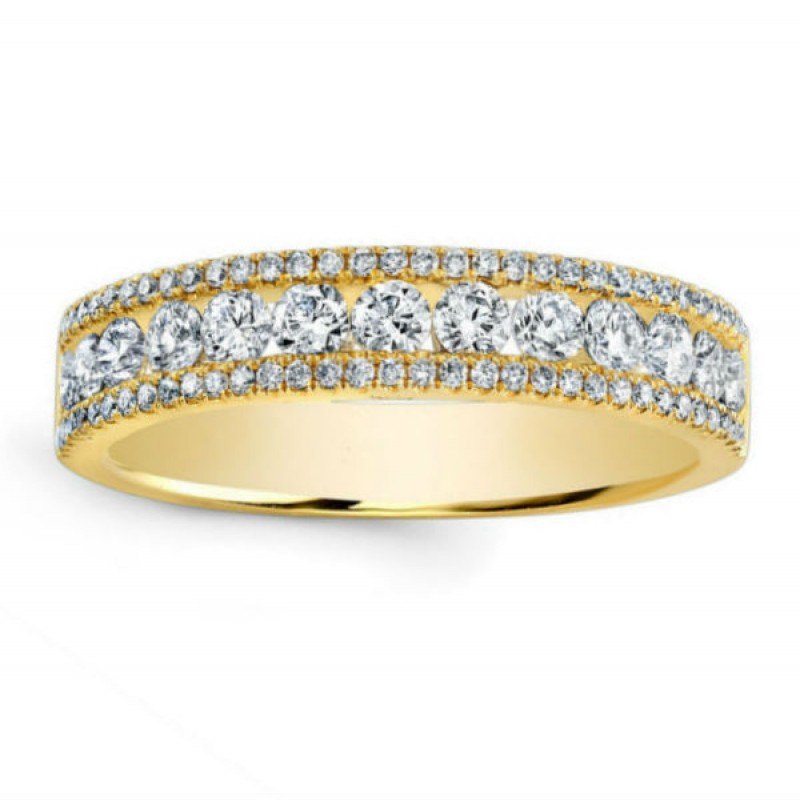 14k Yellow Gold Diamond Pave and Channel Ring