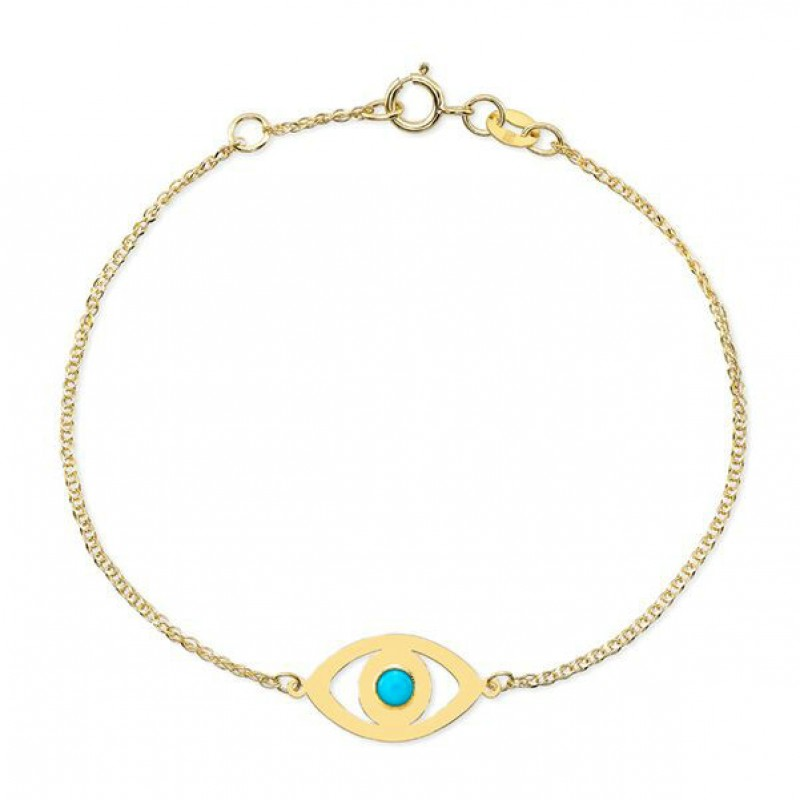 14k Yellow Gold Turquoise Bezel Evil Eye Bracelet