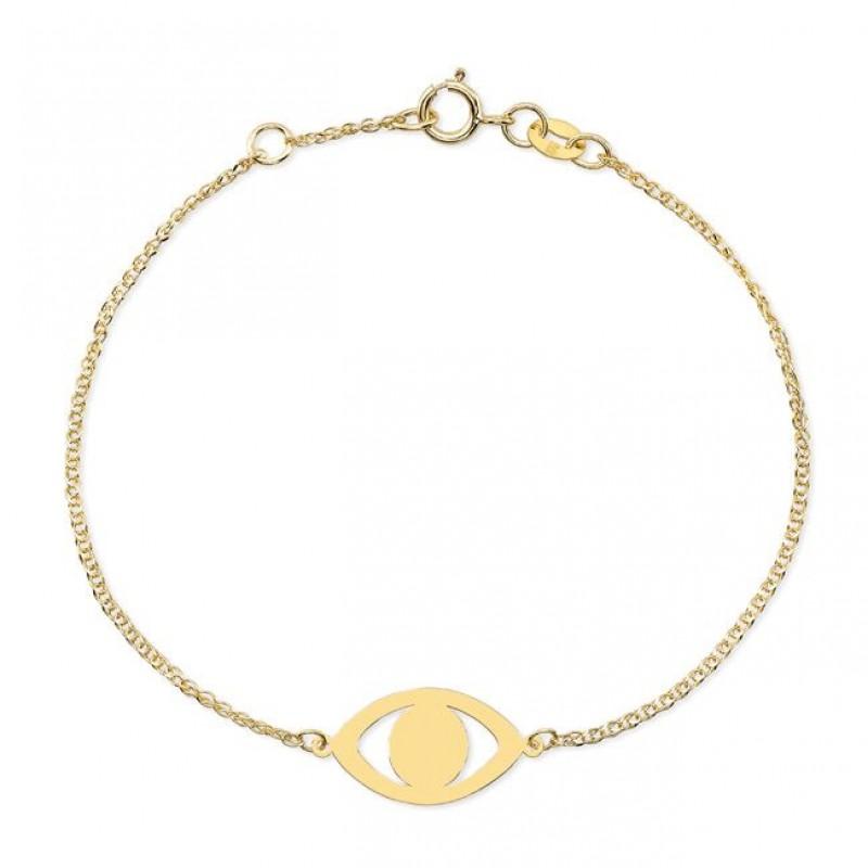 Kids' 14k Yellow Gold Evil Eye Bracelet