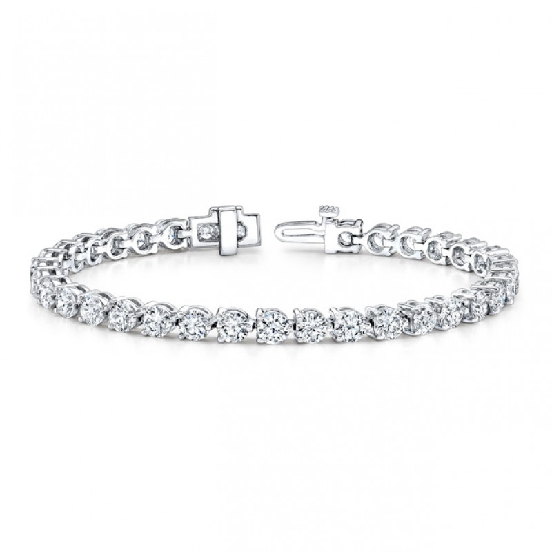 14k White Gold 3 Prong 2CT Diamond Tennis Bracelet