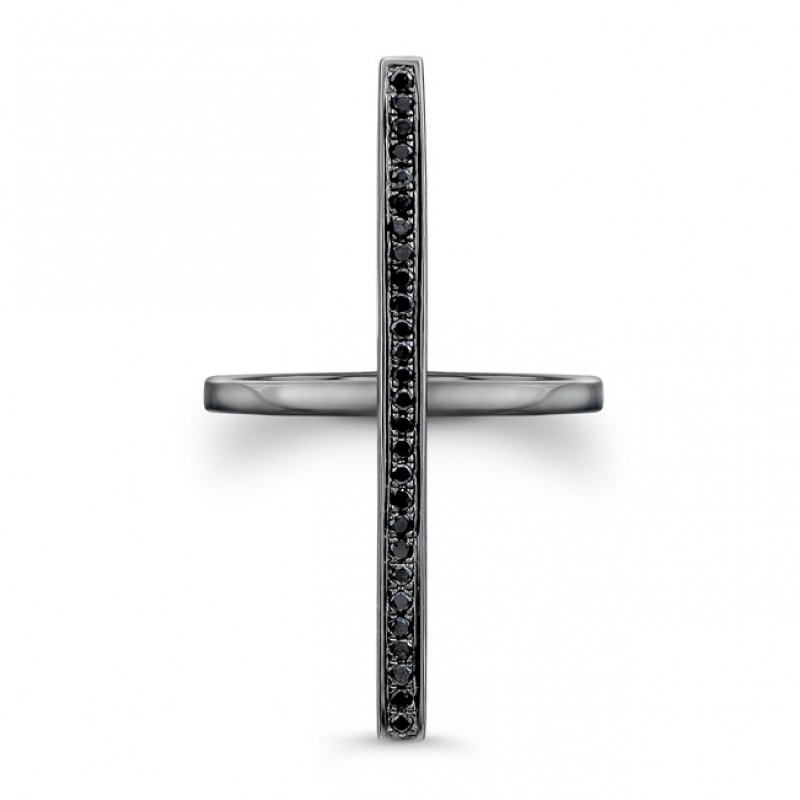 14k Black Gold Black Diamond Long Bar Ring