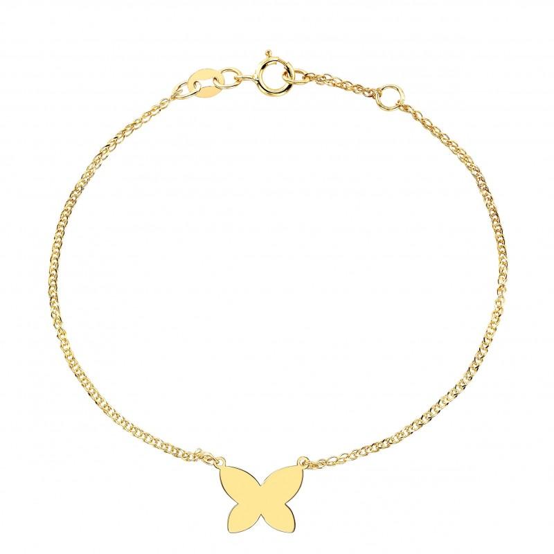 Kids' 14k Yellow Gold Floating Butterfly Bracelet