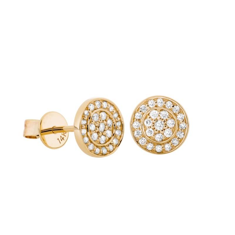 14k Yellow Gold Pave Diamond Disc Earrings