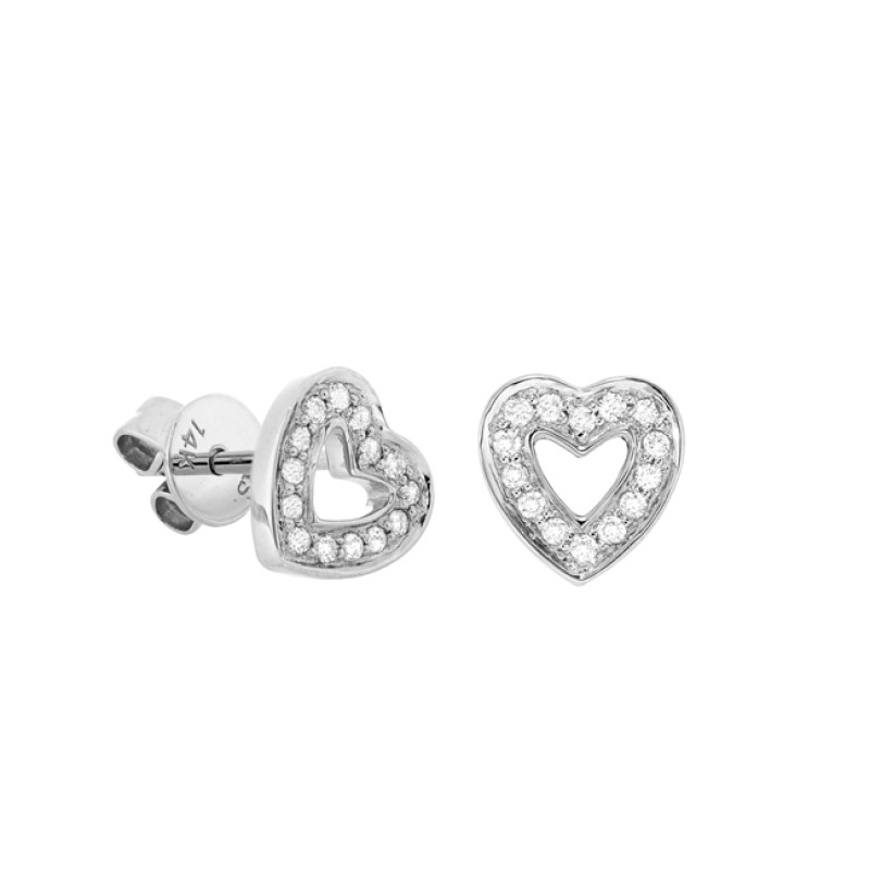 14k White Gold Diamond Cut Out Heart Stud Earrings
