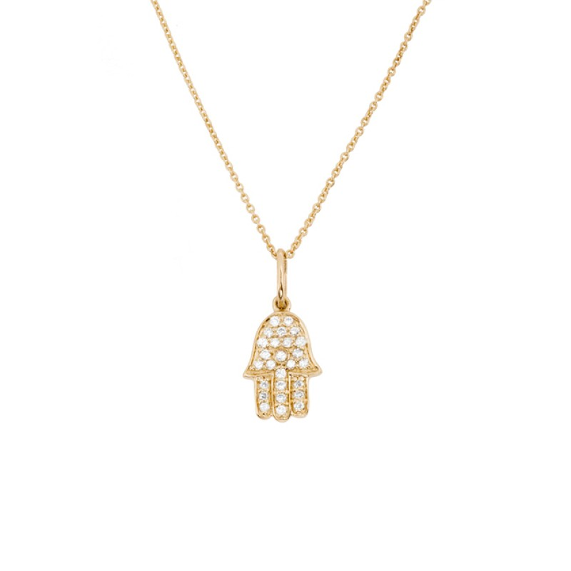 14k Yellow Gold Diamond Hamsa Hand of Fatima Necklace