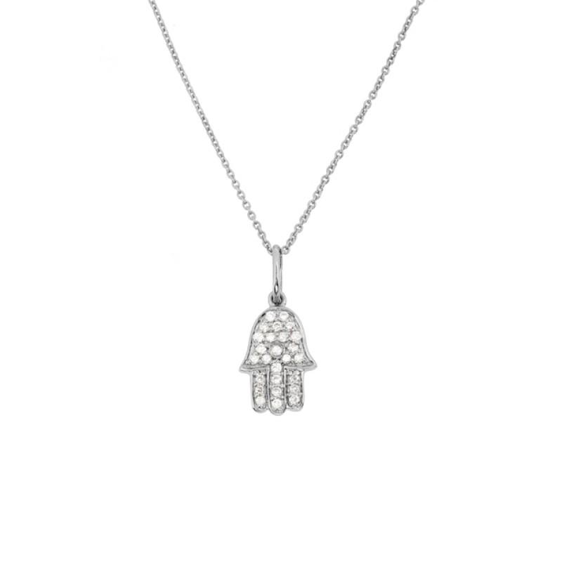 14k White Gold Diamond Hamsa Hand of Fatima Necklace