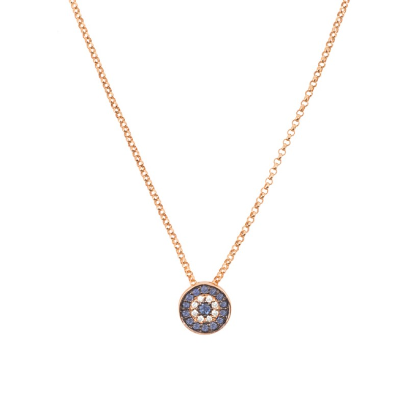 14k Rose Gold Diamond Sapphire Evil Eye Disc Necklace