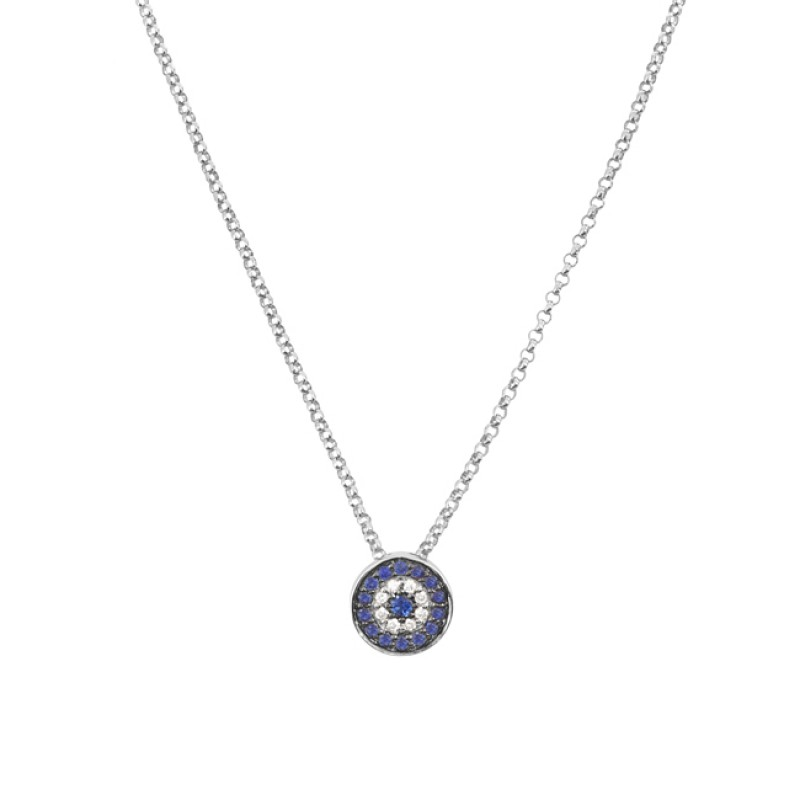 14k White Gold Diamond Sapphire Evil Eye Disc Necklace