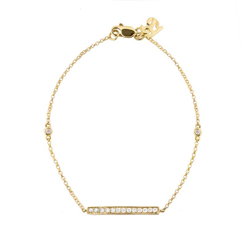 14k Yellow Gold Diamond Bar Bracelet