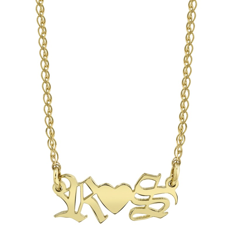 14k Yellow Gold Personalized Initial Nameplate Necklace
