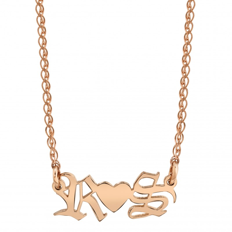 14k Rose Gold Personalized Personalized Initial Nameplate Necklace