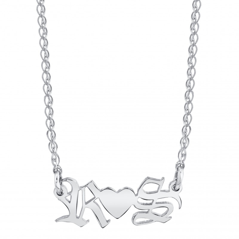 14k White Gold Personalized Initial Nameplate Necklace
