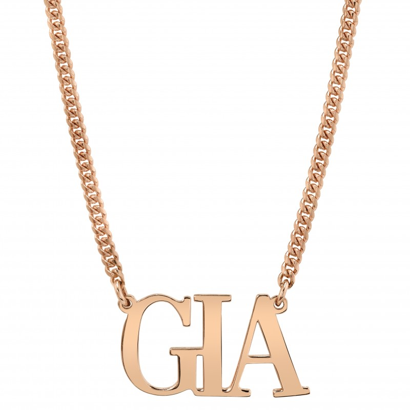 14k Rose Gold Personalized Mini Cuban Link Large Nameplate Necklace