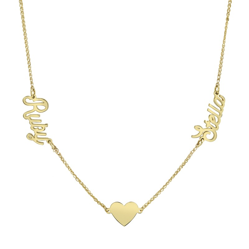 14k Yellow Gold Personalized Nameplate Floating Heart Necklace