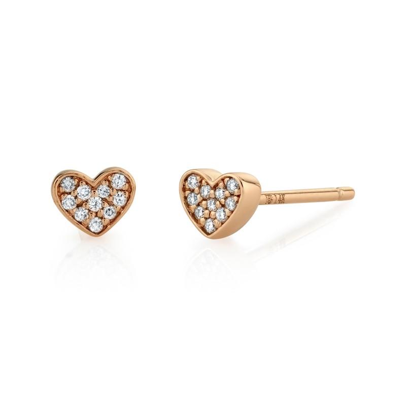 14k Rose Gold Heart Diamond Earrings
