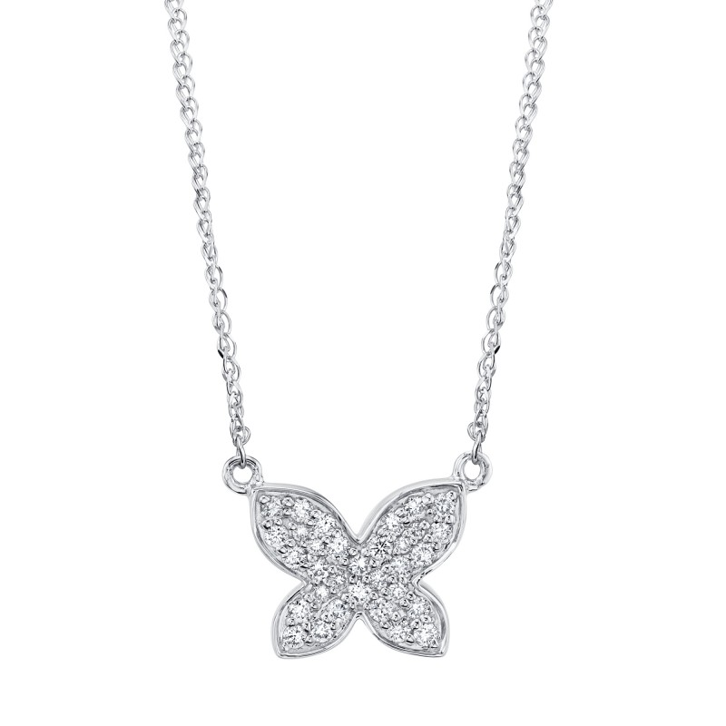 14k White Gold Diamond Butterfly Necklace