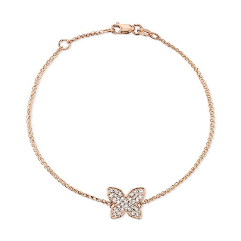 14k Rose Gold Diamond Butterfly Bracelet