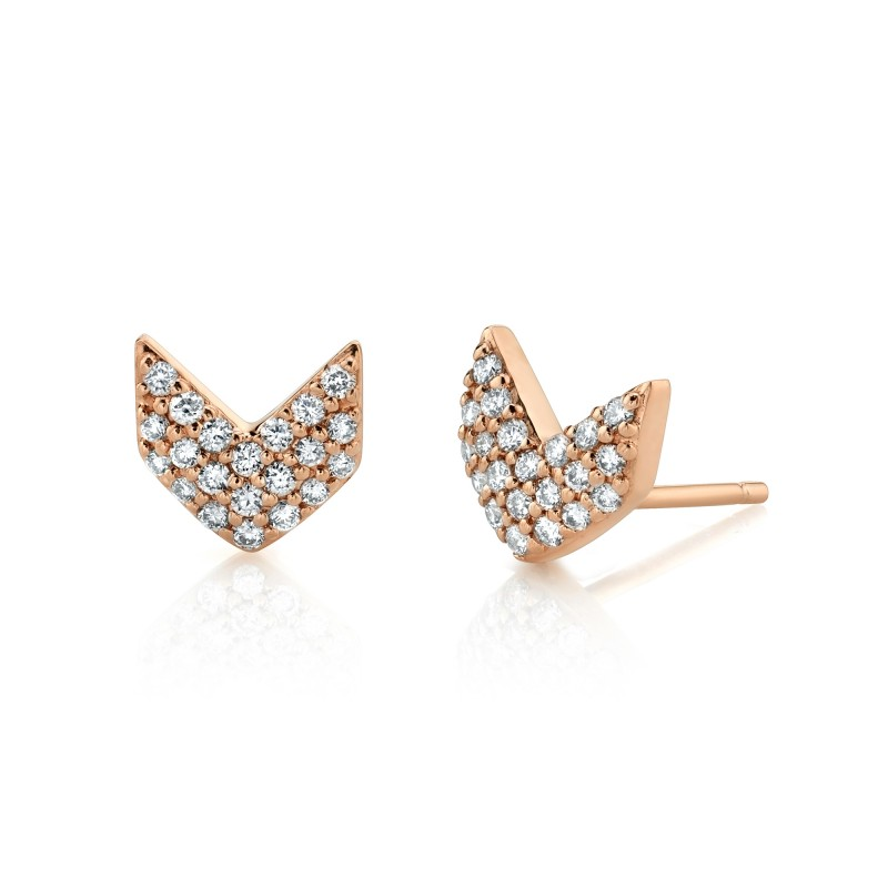 14k Rose Gold Diamond Chevron Earrings