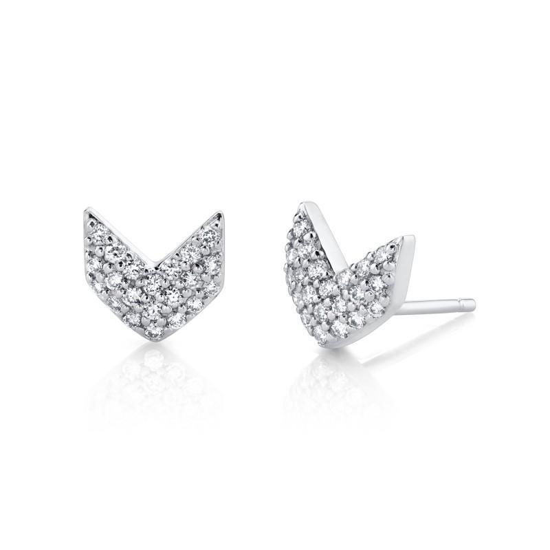 14k White Gold Diamond Chevron Earrings