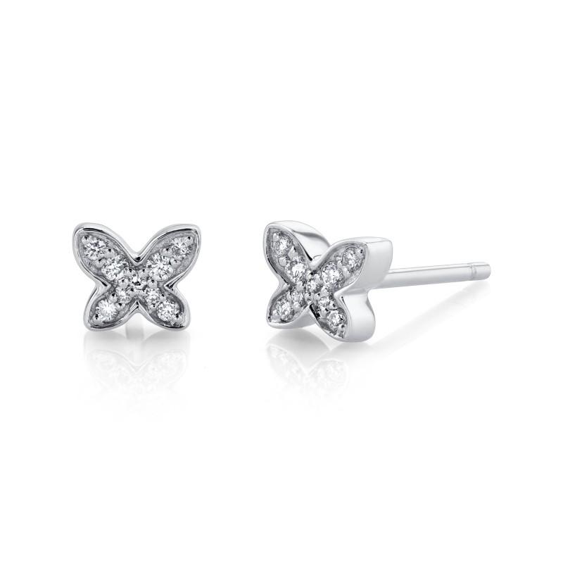 14k White Gold Butterfly Diamond Earrings