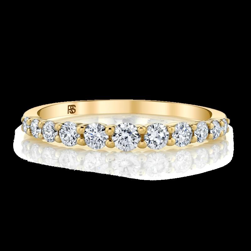 14k Yellow Gold Diamond Graduated Ring