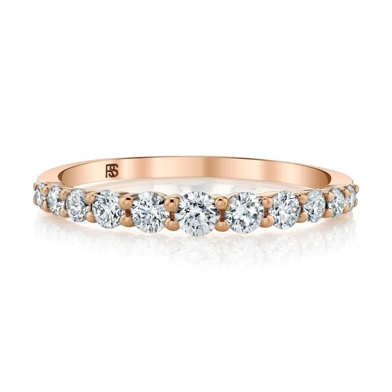 14k Rose Gold Diamond Graduated Ring