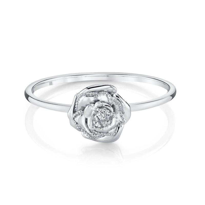 14k White Gold Diamond Rose Ring