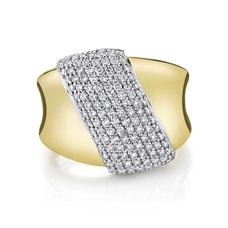 14k Yellow Gold Diamond Pave Hourglass Ring