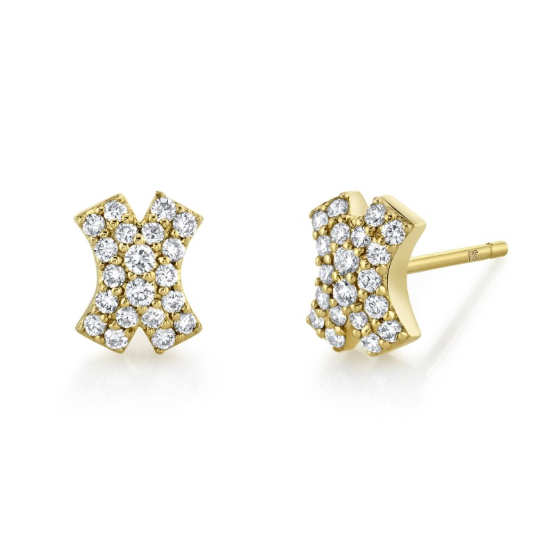 14k Yellow Gold Diamond X Earrings