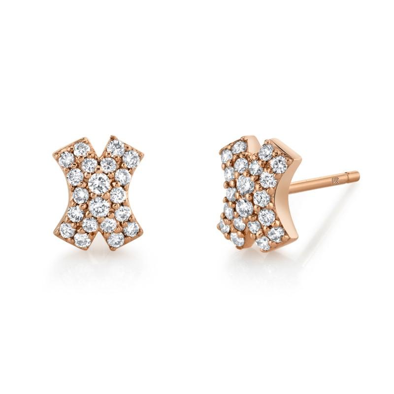 14k Rose Gold Diamond X Earrings
