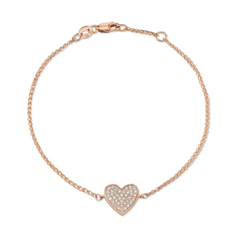 14k Rose Gold Diamond Floating Heart Bracelet