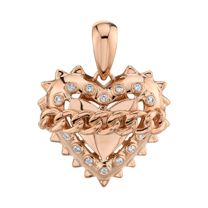 14k Rose Gold Chained Heart Charm