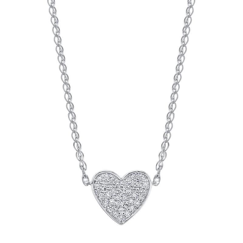 14k White Gold Diamond Floating Heart Necklace