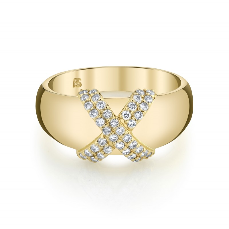 14k Yellow Gold Diamond X Dome Ring