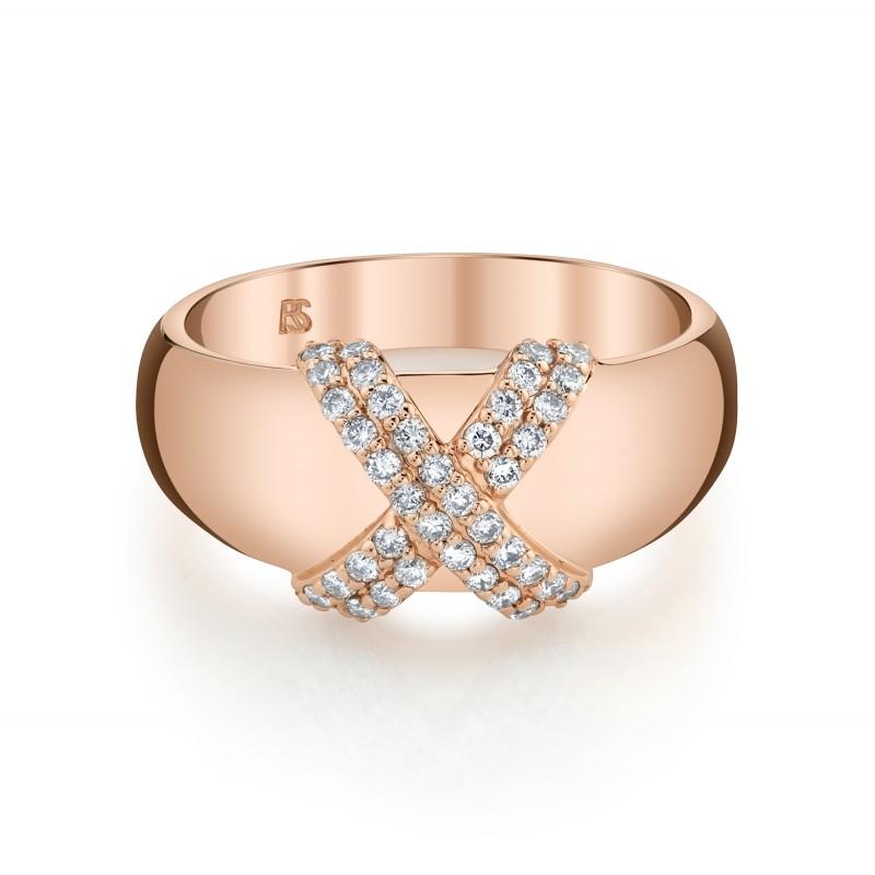 14k Rose Gold Diamond X Dome Ring