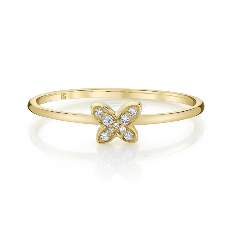 14k Yellow Gold Diamond Butterfly Ring