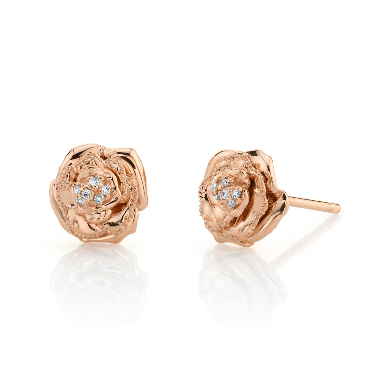 14k Rose Gold Diamond Rose Earrings
