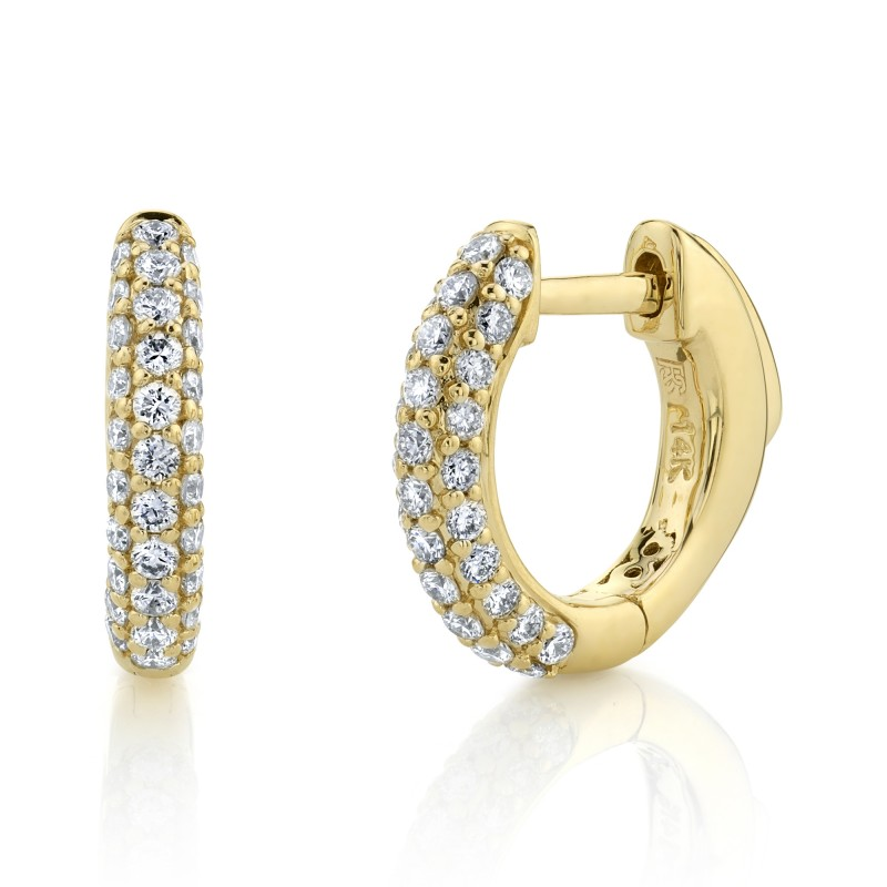 14k Yellow Gold Pave Diamond Huggie Hoops with Security Latch